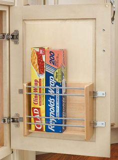 Rev-A-Shelf Small Door Mount Foil Rack - good idea for kitchen and bathroom Kitchen Organization, Kitchen Storage, Storage Organization, Storage Ideas, Inside Cabinets, Cupboards, Kitchen Cabinets, Door Storage, Cabinet Storage
