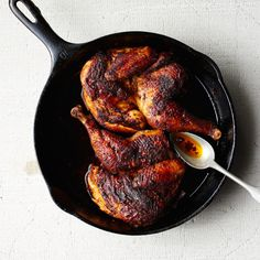 The real magic here is in the pool of schmaltz, AKA rendered chicken fat, sizzling in the pan.