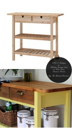 Make a Förhöja cart look like a custom piece for your kitchen. | 37 Cheap And Easy Ways To Make Your Ikea Stuff Look Expensive