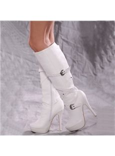 27 Fashionable Outfits Ideas with White Boots - Fashionetter White Knee High Boots, Thigh High Boots, High Heel Boots, White Shoes, Heeled Boots, Bootie Boots, High Heels, Platform Boots, Stilettos