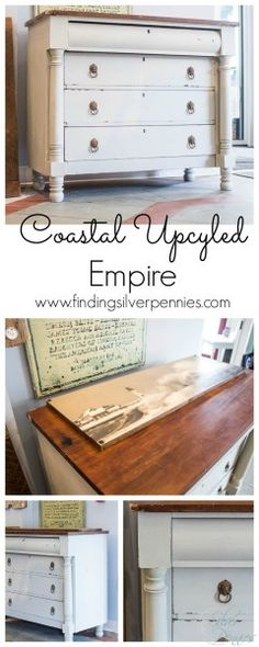 An Empire Dresser Named Rebecca - Finding Silver Pennies Painting Old Furniture, Furniture Fix, Diy Garden Furniture, Diy Furniture Projects, Refurbished Furniture, White Furniture, Upcycled Furniture, Online Furniture, Furniture Making