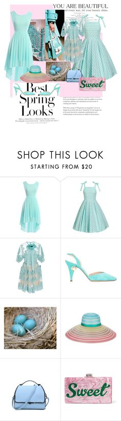 """""""Robin's Egg Blue Suits You"""" by crimsonboudoir ❤ liked on Polyvore featuring H&M, Elie Saab, Nicholas Kirkwood, Missoni and Edie Parker"""