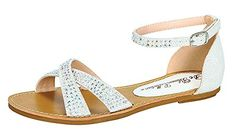 b0b663e5f79abe De Blossom Collection Maggie2 Buckle Ankle Strap Flat Sandals White 65    See this great product.(This is an Amazon affiliate link and I receive a  commission ...