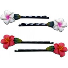 Fimo Hair Flower Mini Bobby Pin Set of 4 Plumeria White with Pink and Pink >>> Learn more by visiting the image link.