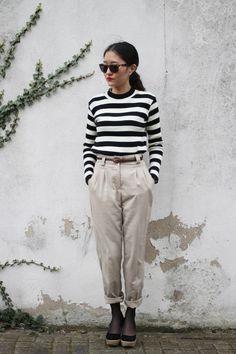 Neutral Tones, black and white stripes, Classic Large Polarized Lens Wayfarer Sunglasses 6105