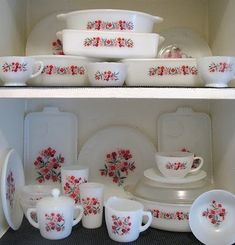 Fireking Primrose bakeware and dishes -- I love using mine for guests.  See those tumblers? SO RARE!  I only have 3.