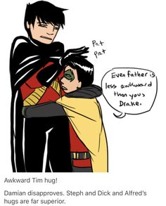 Tim is not very good at hugs.