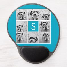 Shop Aqua Blue Photo Collage Custom Monogram Gel Mouse Pad created by MarshEnterprises. Personalize it with photos & text or purchase as is! Instagram Collage, Square Photos, Custom Mouse Pads, Aqua Blue, Mousse, Art For Kids, Personalized Gifts, Create Your Own, Hipster