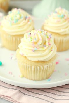 These Moist Vanilla Cupcakes are a must-try recipe. The vanilla cake is a little more dense with a compact crumb, similar to a vanilla sponge cake. They make the perfect cupcakes that stay moist for days. This recipe can also be made into a vanilla cake recipe.
