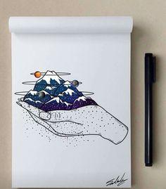 Good night - Stars Themed Illustrations by Muhammed Salah art,drawing Posca Art, Caricature Artist, Cute Drawings, Indie Drawings, Art Inspo, Line Art, Art Sketches, Sketchbook Drawings, Painting & Drawing