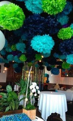 Lamparas Pom-Pom de Papel color Azul