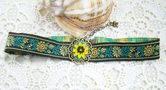 """Choker """"Sun flower"""" (20 LEI la lycurycy18.breslo.ro) Painted Shoes, Chokers, Sun, Belt, Flower, Handmade, Accessories, Fashion, Belts"""