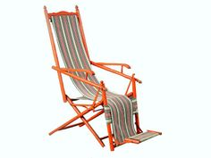 french outdoor recliner with original orange paint and upholstery (circa 1940's)