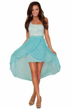 Hot from Hollywood Women's One Shoulder Greek Goddess Lace Hi Low Dress