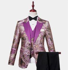 Purple and Gold Tuxedo - 3 Piece Tuxedo Dress, Tuxedo Suit, Tuxedo For Men, Modern Tuxedo, Classic Tuxedo, Purple Tuxedo, Purple Gold, James Bond Tuxedo, Navy Tuxedos