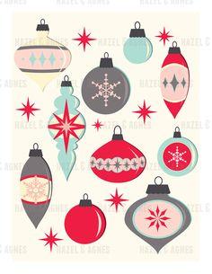 Retro Ornaments - Printable Christmas Card (Digital Download)
