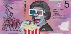Queen Elizabeth at the movies - fantastic reimagined australian fivers Play Money, Queen Elizabeth, Art Projects, Notes, Artist, Artwork, Year 9, Popcorn, Snapchat