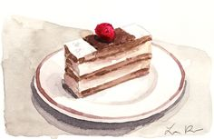 Napoleon Mille Feuille with Raspberry Giclee by LauraRowStudio