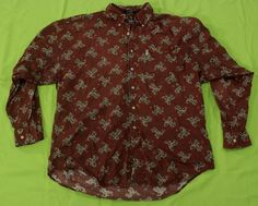 Chaps Ralph Lauren Shirt Mens Sz XL Maroon Paisley Button Front Cotton #ChapsRalphLauren #ButtonFront