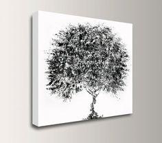 art blanc noir, peinture abstraite acrylique peinture grande toile art blanc bureau noir intérieur chambre à coucher décor mural art huile Visi