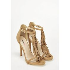 Justfab Heeled Sandals Loralei (1,840 PHP) ❤ liked on Polyvore featuring shoes, sandals, brown, brown heeled sandals, braided sandals, high heel shoes, heeled sandals and fringe heel sandals