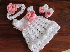 Baby dress set white pink  baby girl dress by paintcrochet on Etsy, $50.00