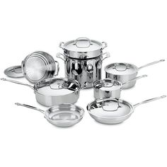 Classic cookware from Cuisinart is equipped to handle most common cooking tasks.  The inner core of aluminum ensures that foods heat quickly and evenly without hot spots that can burn foods.  This 14-piece set is crafted of 18/10 stainless steel.