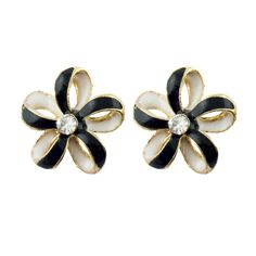 HAND XZ-WYH Cute Flower Brooch with Black and White Enamel and Diamante Crystal in a Gold Tone Setting - Pack of 2 >>> We do hope that you actually like our photo. (This is our affiliate link) White Enamel, Flower Brooch, Hair Clips, Cufflinks, Black And White, Crystals, Cute, Flowers, Gold