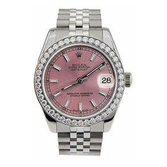 Pre-Owned Rolex Datejust 178274 Ladies Midsize 31mm Pink Index Ss... (67 470 SEK) ❤ liked on Polyvore featuring jewelry, watches, rolex watches, pink wrist watch, pink watches, pink-face watches and rolex jewelry