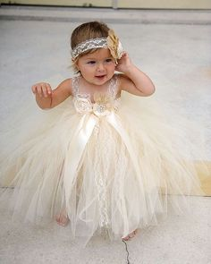 Weddbook ♥ Flower Girl Dress Ivory Flower Girl Dress Lace Flower Girl Dress Rustic Country Wedding Dress Baptism Christening Dress This listing is for. Little Girl Pageant Dresses, Cute Flower Girl Dresses, Tulle Flower Girl, Tulle Flowers, Girls Dresses, Party Dresses, Tulle Lace, Formal Dresses, Tulle Ball Gown