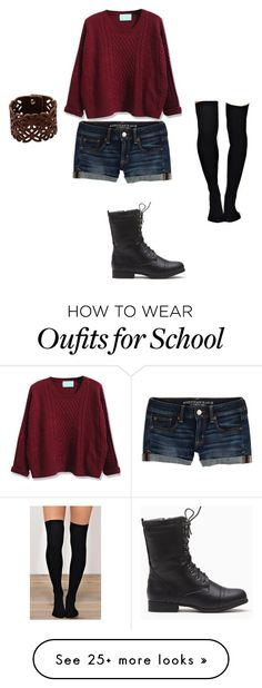 """""""School outfit"""" by alliejean01 on Polyvore featuring American Eagle Outfitters, WithChic and LIU•JO"""