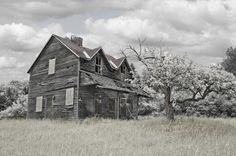 Abandoned farm house haunted and gone to ruin, done in hand tint black and white...come and stay a SPELL in this witch haunt in Michigan's Upper Peninsula.