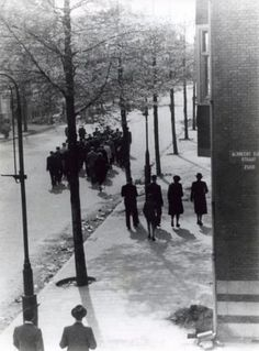 1940. Round up of Jews in Amsterdam. A group of Jews arrested during a round up forced to walk in the middle of the street. On the side walk a small group of people watching the unusual scene. Albrecht Dürer street Zuid, Amsterdam, The Netherlands.