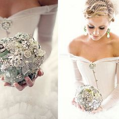 There's a new trend rising in the world of bridal fashion; gemstone bouquets!
