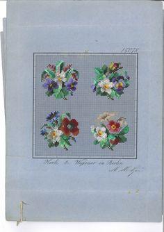 Digitalt Museum - Broderimønster -  Hertz und Wegener - 4 Blumensträusse mit Stiefmütterchen und Rosen