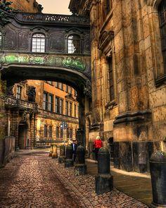 Cobblestone Road in Dresden Germany