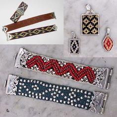 pulsera y colgantes con guarda pampa y plata