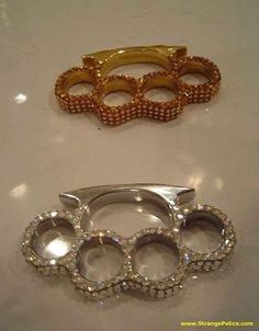 BRASS KNUCKLE BLING! - Kick ass with style and class! Mine aren't as pretty as these... Want!