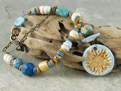 Sunshine Necklace Sun Handmade Ceramic by LindaLandigJewelry