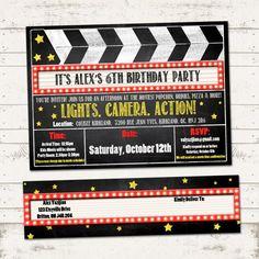 Movie Party-Invitation and Address Labels-Marquee, Clipboard, CUSTOM  | ValeriePullam - Cards on ArtFire #ckdin