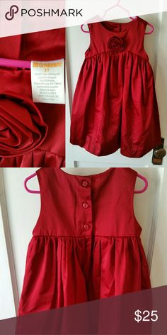 Gymboree trapeze dress Gorgeous holiday dress and satiny red with sweet rose detail in trapeze cut. This dress was worn once and is in like new condition, just a little bit wrinkled. Gymboree Dresses Formal