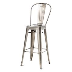 Commercial Seating Products Oscar Tolix Style Metal Patio Barstool with Back | from hayneedle.com