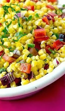 Mexican Corn Salad  This was the original, I used cilantro instead of basil, no hot sauce no oregano, definitely jalapeño, and I didn't strictly measure the onion or bell peppers