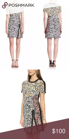 FLASH SALE 🎀 Nanette Lepore Silk dress Nanette Lepore. Barcelona Babe dress. Size 6. Feminine flair gets a hit of edge on this Nanette Lepore dress, rendered in mixed floral prints and trimmed with an off-center zip slit. Solid panels create sharp contrast at the sides, crew neckline, and short sleeves. Hidden back zip. Lined. Silk crepe. Shell: 100% silk. Lining: 100% polyester. Beautiful designer dress in excellent condition. Nanette Lepore Dresses