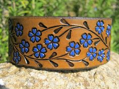 Womens Leather Bracelet Sarah's Artistry, Hand Painted Tooled Leather Cuff Bracelet, Womens Wide Blue Floral Vine, Women and Girls, Snap Tooled Leather, Leather Tooling, Pink Leather, Leather Men, Diy Leather Bracelet, Leather Jewelry, Leather Gifts, Leather Craft, Painting Leather