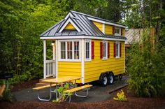 This is the 175 square feet Savannah tiny home on wheels at the Mt. Hood tiny house village near Portland, Oregon. It's designed and built by Tumbleweed Houses and is available for you to try…