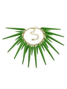 Green Spike Gold Chain Link Bracelet