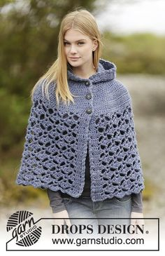 "Erendruid / DROPS Extra 0-1166 - Crochet DROPS poncho with hood, fan pattern, worked top down in ""Andes"". Size: S - XXXL."