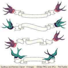Swallows and Banners Clipart Clip Art Vintage Bird от PinkPueblo