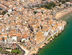 Sitges from the air - prov. Barcelona Catalonia, Sitges, City Photo, Europe, River, Outdoor, Outdoors, Outdoor Games, The Great Outdoors